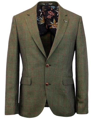 gibson london mod linen windowpane check blazer