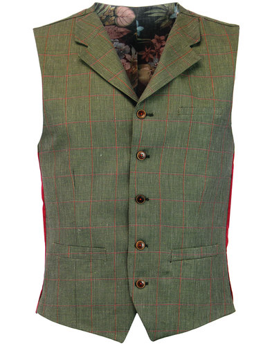 GIBSON LONDON Mod Windowpane Check Lapel Waistcoat