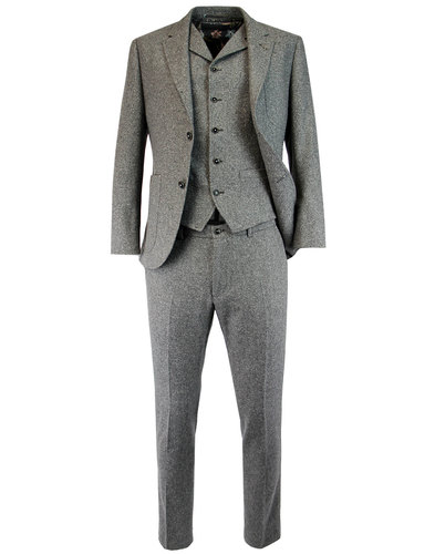 GIBSON LONDON Retro 60s Mod Grey Donegal Suit