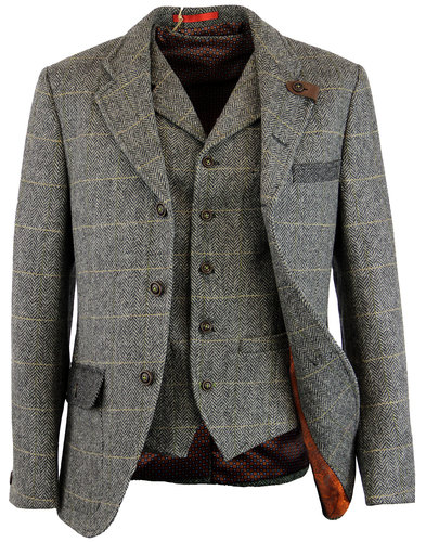 gibson london grouse mod herringbone blazer grey