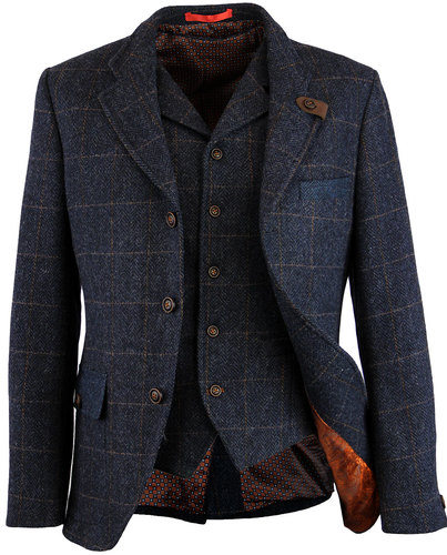 gibson london grouse mod herringbone blazer navy