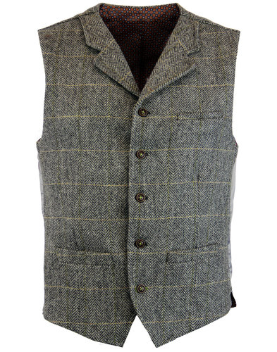 gibson london retro mod herringbone waistcoat grey