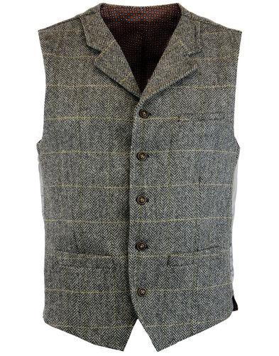 GIBSON LONDON Mod Wool Herringbone Check Waistcoat