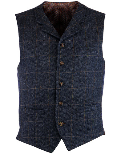 gibson london mod herringbone check waistcoat navy
