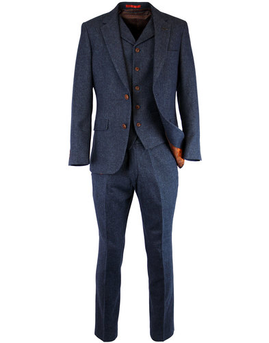 gibson london 60s mod herringbone suit jacket blue