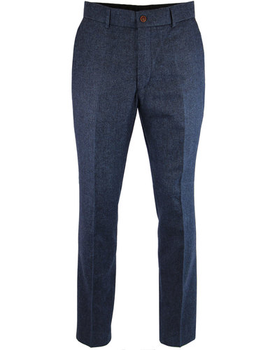 gibson london mod herringbone suit trousers blue