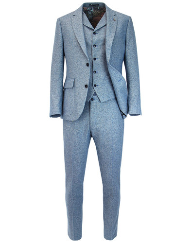 GIBSON LONDON Mod Herringbone Donegal Suit in Blue
