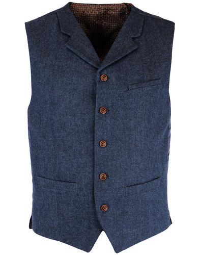 gibson london 1960s mod herringbone waistcoat blue