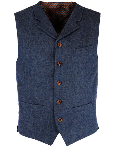 GIBSON LONDON Retro Mod Herringbone Waistcoat BLUE