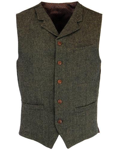 gibson london 60s mod herringbone waistcoat green