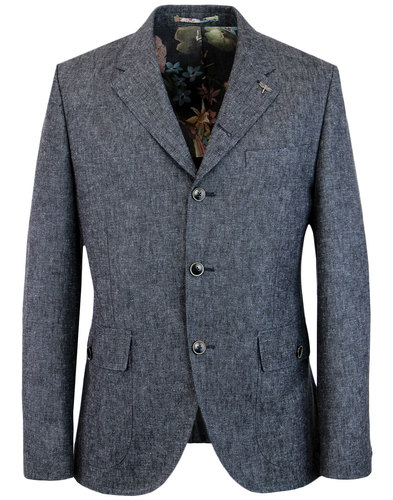 gibson london grouse mod denim linen blazer jacket
