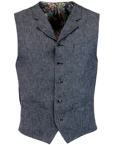 GIBSON LONDON 60s Mod Denim Linen Lapel Waistcoat