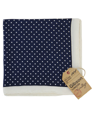 gibson london 60s mod silk dot pocket square navy