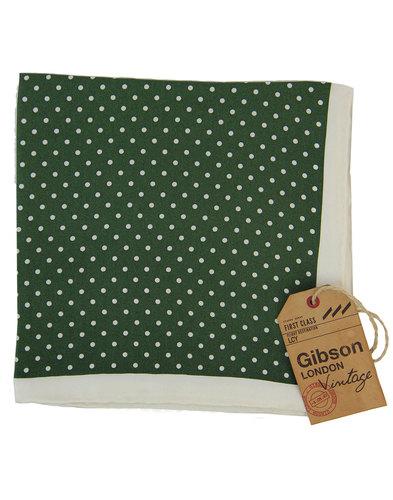GIBSON LONDON 60s Mod Olive Dot Silk Pocket Square