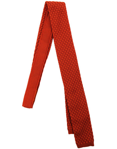 GIBSON LONDON Mod Knitted Square End Tie ORANGE