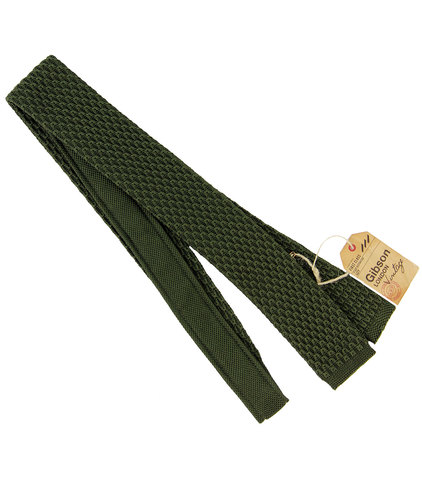 gibson london retro mod square end knit tie olive