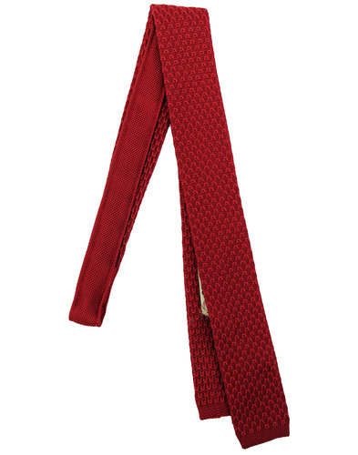 GIBSON LONDON 60s Mod Knitted Square End Tie RED