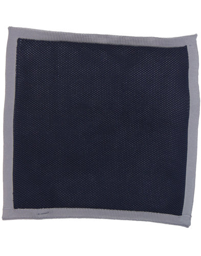 GIBSON LONDON Mod Knitted Pocket Square NAVY/GREY