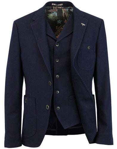 GIBSON LONDON Mod Waffle Knit Blazer & Waistcoat