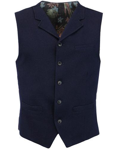 gibson london 60s mod waffle knit lapel waistcoat