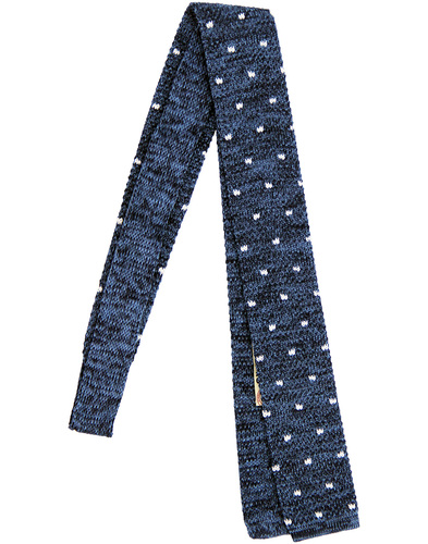 GIBSON LONDON Retro Knitted Polka Dot Square Tie