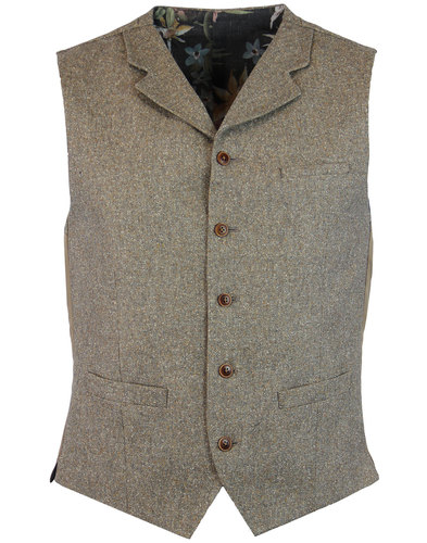 gibson london 60s mod donegal lapel waistcoat sand