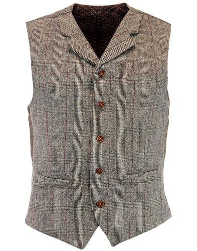 gibson london retro 1960s mod pow check waistcoat