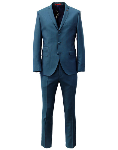 GIBSON LONDON RETRO MOD SUIT TEAL HOPSACK