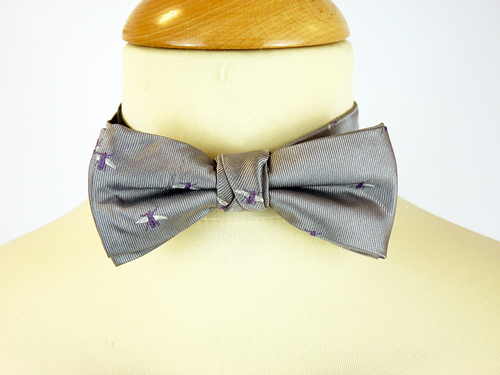 Silver Bees GIBSON LONDON Retro Mod Silk Bow Tie