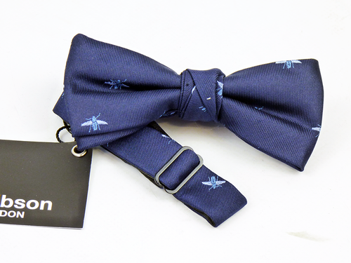Navy Bees GIBSON LONDON Retro Mod Silk Bow Tie
