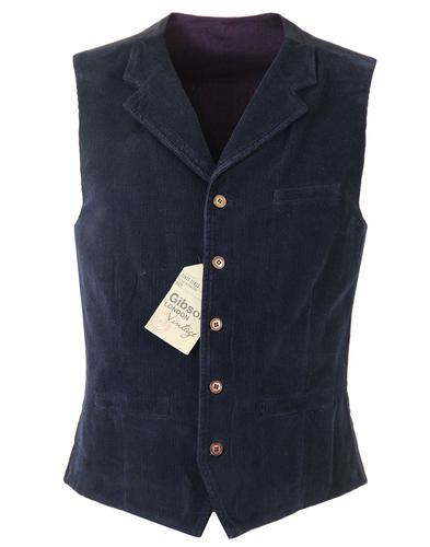 GIBSON LONDON RETRO MOD CORD WAISTCOAT NAVY
