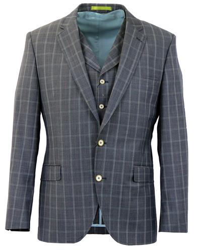 GIBSON LONDON RETRO CHECK 3 PIECE SUIT JACKET
