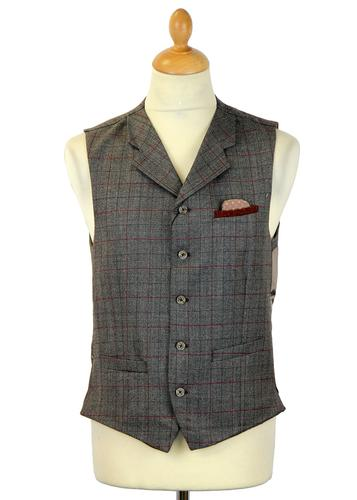 GIBSON LONDON RETRO MOD WAISTCOAT BROWN