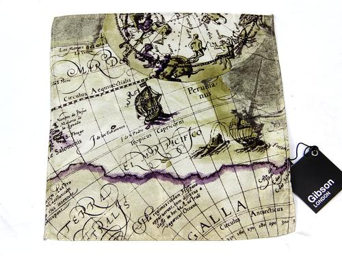 GIBSON LONDON RETRO MOD POCKET SQUARE MAP