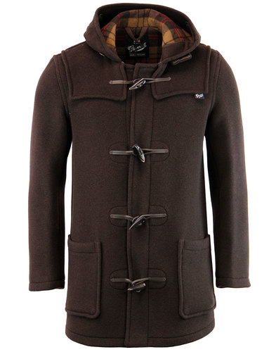 gloverall retro mid length check duffle coat brown