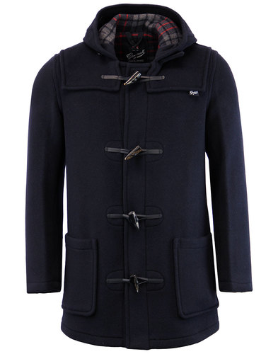 gloverall retro mid length check duffle coat navy