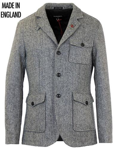 GLOVERALL RETRO MOD HERRINBONE TWEED CLUB JACKET
