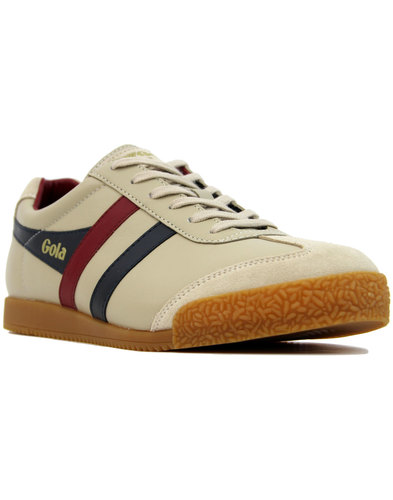 gola harrier leather mens retro mod trainers ecru