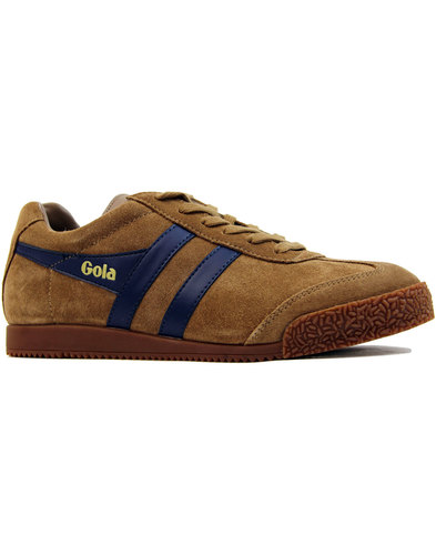 gola harrier suede retro indie trainers tobacco