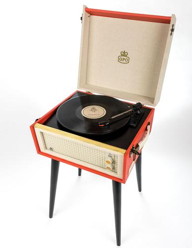 GPO RETRO STANDING RECORD PLAYER BERMUDA RED