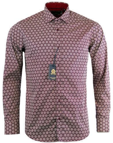 guide ondon retro 60s mod ethnic print shirt wine