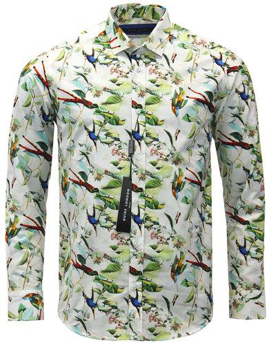 guide london retro 1970s mod bird print shirt