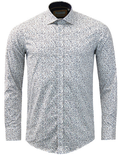 GUIDE LONDON Retro Mod Ditsy Floral Smart Shirt