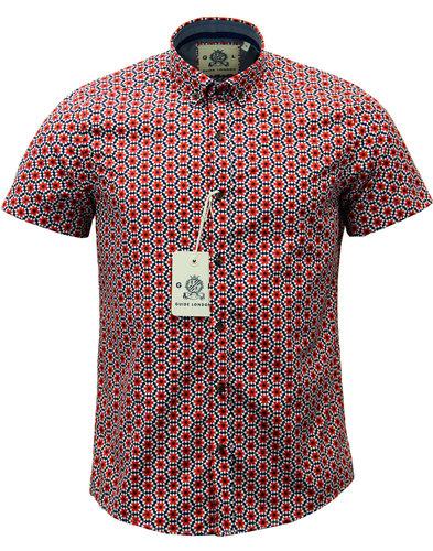 guide london retro mod op art floral star shirt