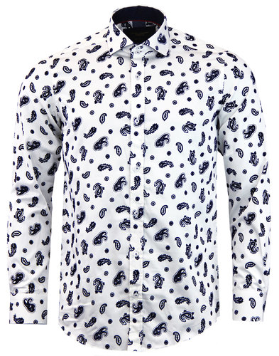 GUIDE LONDON Mod Flock Paisley Big Collar Shirt