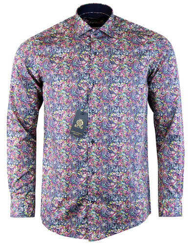 guide london retro 1960s mod neon paisley shirt