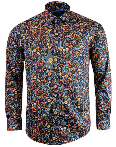 guide london retro 1960s mod painted paisley shirt