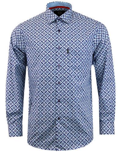 VIYELLA Men's 1960s Mod Diamond Paisley Tile Shirt