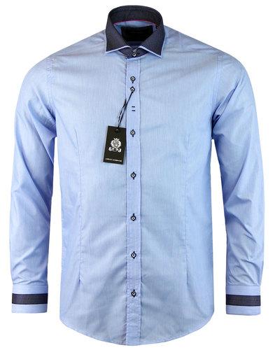 guide london retro 60s mod pindot collar shirt sky
