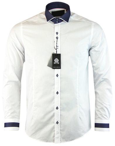 guide london retro mod pindot collar shirt white
